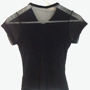 Tops - Black Sheer Mesh Velvet Body Contour Top Size S